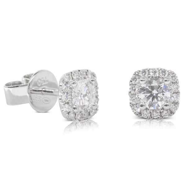 18ct White Gold .60ct Diamond Peony Earrings - Walker & Hall
