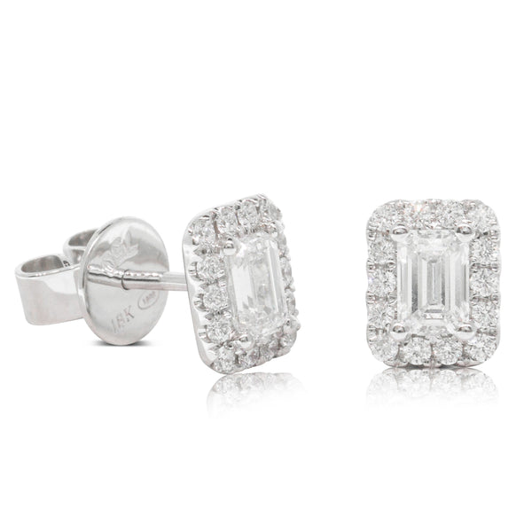 18ct White Gold .88ct Diamond Halo Earrings - Walker & Hall