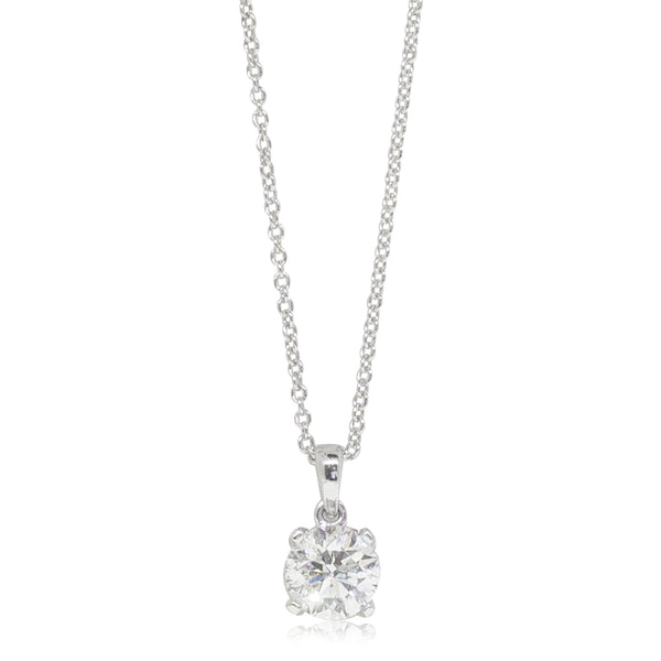 18ct White Gold 1.01ct Diamond Blossom Pendant - Walker & Hall