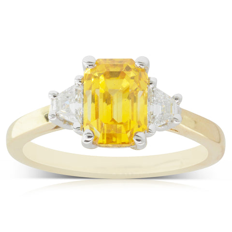 18ct Yellow & White Gold 3.02ct Yellow Sapphire & Diamond Trilogy Ring - Walker & Hall