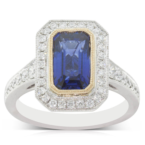 18ct White & Yellow Gold 2.39ct Sapphire & Diamond Halo Ring - Walker & Hall