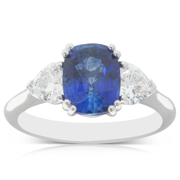 18ct White Gold 2.54ct Sapphire & Diamond Ring - Walker & Hall