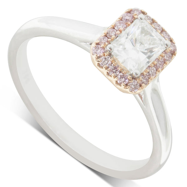 18ct White & Rose Gold .50ct Diamond Halo Ring - Walker & Hall