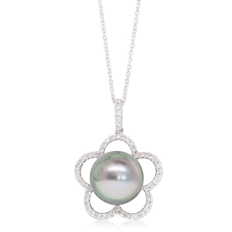 18ct White Gold 12.6mm Pearl & Diamond Halo Pendant - Walker & Hall
