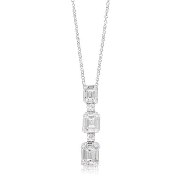 18ct White Gold 1.13ct Diamond Drop Pendant - Walker & Hall