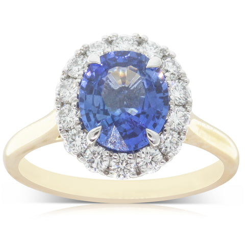 18ct Yellow & White Gold 2.25ct Sapphire & Diamond Halo Ring - Walker & Hall