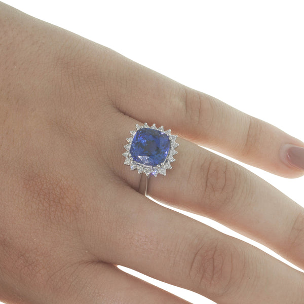 18ct White Gold 6.13ct Tanzanite & Diamond Halo Ring - Walker & Hall