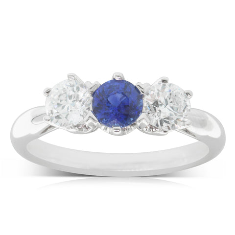 18ct White Gold .60ct Sapphire & Diamond Trilogy Ring - Walker & Hall