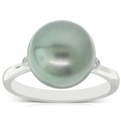 18ct White Gold 11.6mm Black Pearl & Diamond Ring - Walker & Hall