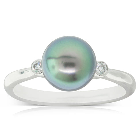 18ct White Gold 8.4mm Black Pearl & Diamond Ring - Walker & Hall
