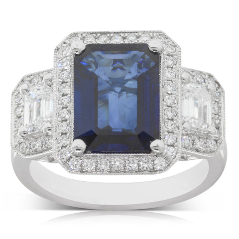 18ct White Gold 4.10ct Sapphire & Diamond Halo Ring - Walker & Hall