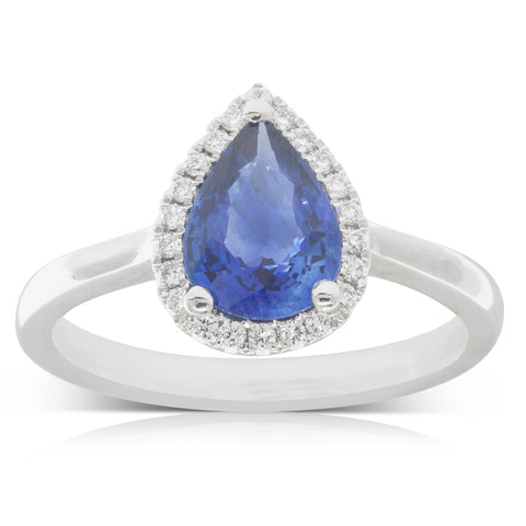 18ct White Gold 1.61ct Sapphire & Diamond Halo Ring - Walker & Hall