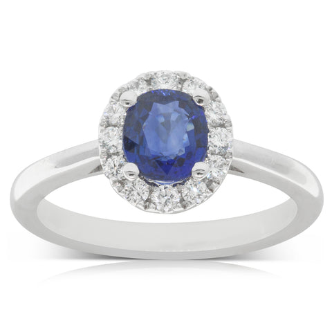 18ct White Gold .97ct Sapphire & Diamond Halo Ring - Walker & Hall
