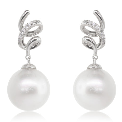 18ct White Gold 12mm South Sea Pearl & Diamond Earrings - Walker & Hall