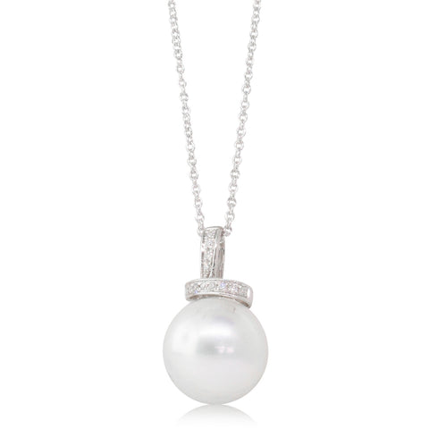 18ct White Gold 12.5mm South Sea Pearl & Diamond Pendant - Walker & Hall