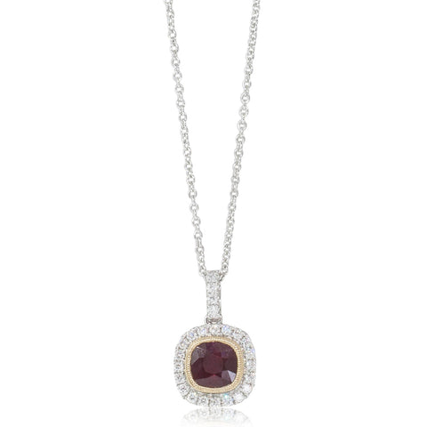 18ct White & Yellow Gold 1.04ct Ruby & Diamond Halo Pendant - Walker & Hall