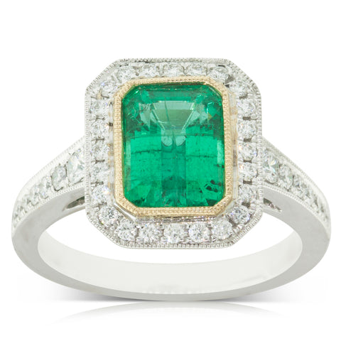 18ct White Gold 2.00ct Emerald & Diamond Halo Ring - Walker & Hall