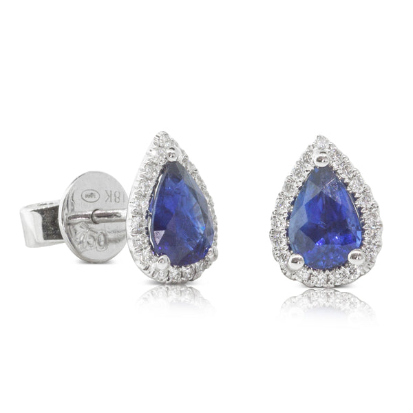 18ct White Gold 1.53ct Sapphire & Diamond Halo Stud Earrings - Walker & Hall
