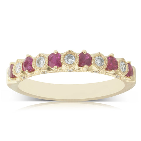 18ct Yellow Gold .49ct Ruby & Diamond Ring - Walker & Hall