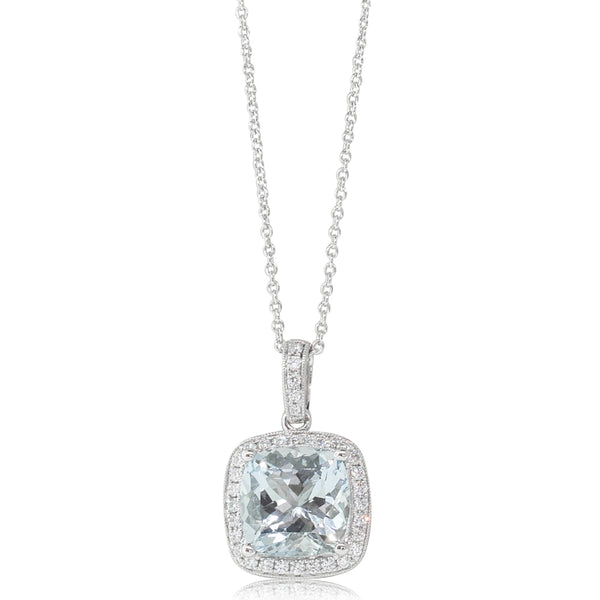 18ct White Gold 3.66ct Aquamarine & Diamond Halo Pendant - Walker & Hall