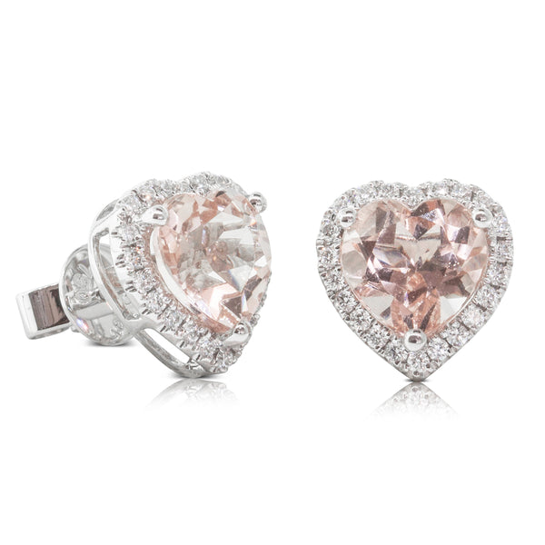 18ct White Gold 3.78ct Morganite & Diamond Halo Stud Earrings - Walker & Hall