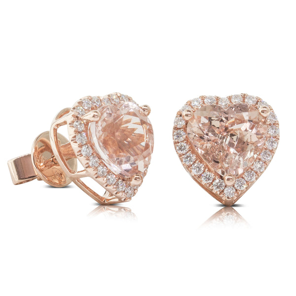 18ct Rose Gold 3.86ct Morganite & Diamond Halo Stud Earrings - Walker & Hall
