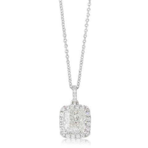 18ct White Gold 2.41ct Diamond Halo Pendant - Walker & Hall