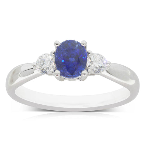 18ct White Gold 1.02ct Sapphire & Diamond Elysian Ring - Walker & Hall