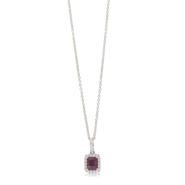 18ct White Gold 1.01ct Ruby & Diamond Halo Pendant - Walker & Hall