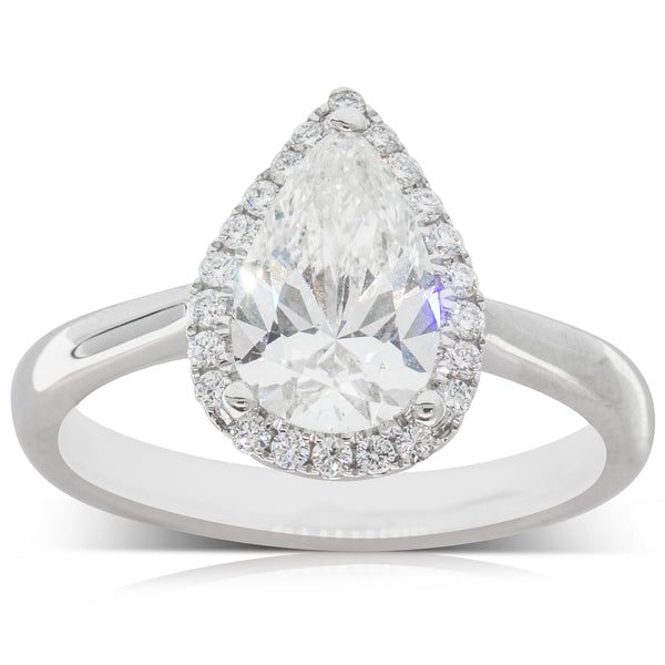 18ct White Gold 1.52ct Diamond Halo Ring - Walker & Hall