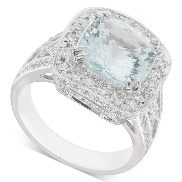 18ct White Gold 3.38ct Aquamarine & Diamond Halo Ring - Walker & Hall