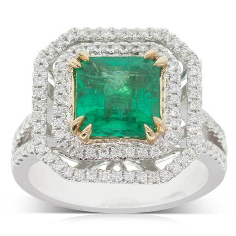 18ct White Gold 2.55ct Emerald & Diamond Halo Ring - Walker & Hall