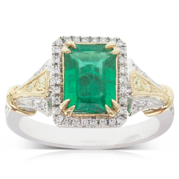 93f4ce19d8a15 18ct White   Yellow Gold 1.74ct Emerald   Diamond Halo Ring – Walker   Hall