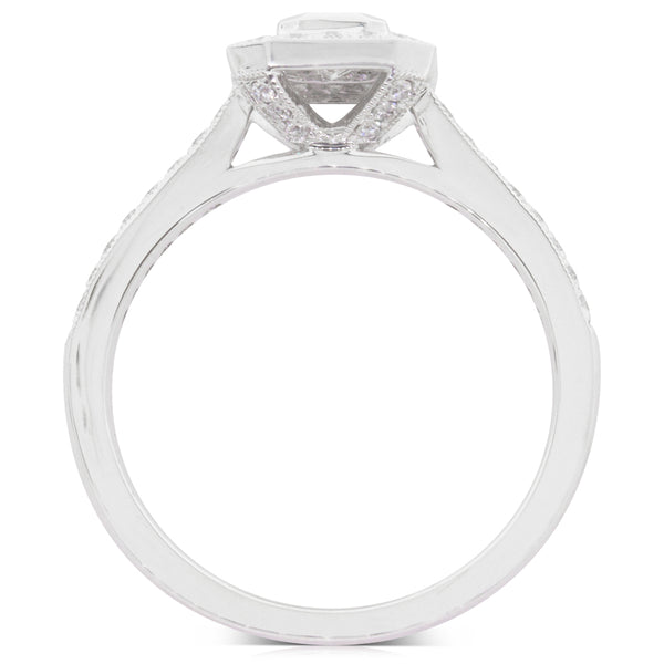 18ct White Gold .30ct Diamond Halo Ring - Walker & Hall