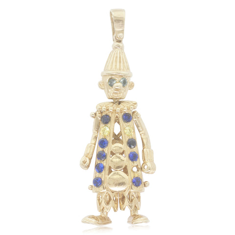 Vintage 9ct Yellow Gold Coloured Glass Clown Pendant - Walker & Hall