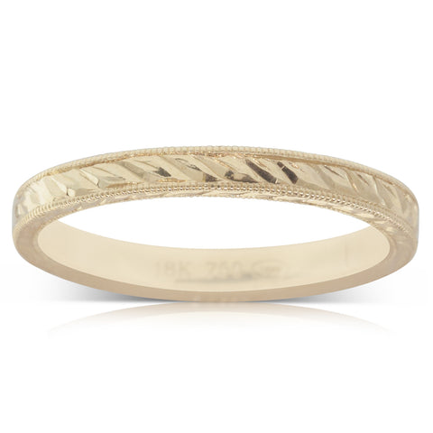 18ct Yellow Gold Engraved Band - Walker & Hall