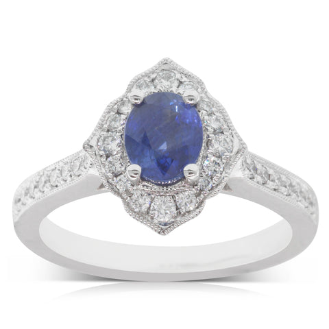 18ct White Gold 1.10ct Sapphire & Diamond Halo Ring - Walker & Hall
