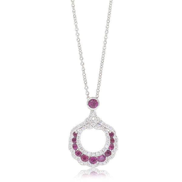 18ct White Gold Ruby & Diamond Cluster Pendant - Walker & Hall