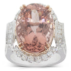 18ct White & Rose Gold 13.84ct Morganite & Diamond Ring - Walker & Hall