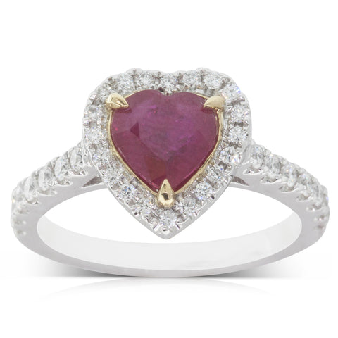 18ct White & Yellow Gold 1.53ct Ruby & Diamond Halo Ring - Walker & Hall