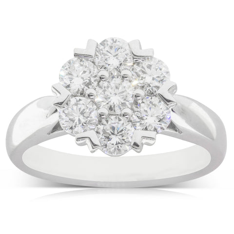 18ct White Gold 1.29ct Diamond Lotus Ring - Walker & Hall