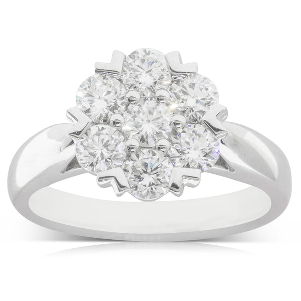 18ct White Gold 1.27ct Diamond Lotus Ring - Walker & Hall