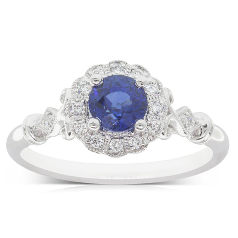 18ct White Gold .90ct Sapphire & Diamond Versaille Ring - Walker & Hall