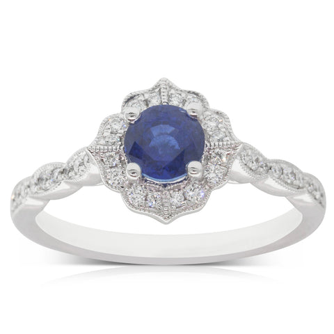 18ct White Gold .89ct Sapphire & Diamond Paramount Ring - Walker & Hall