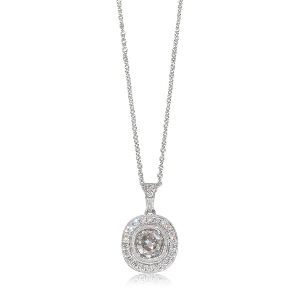 18ct White Gold 1.38ct Diamond Halo Pendant - Walker & Hall