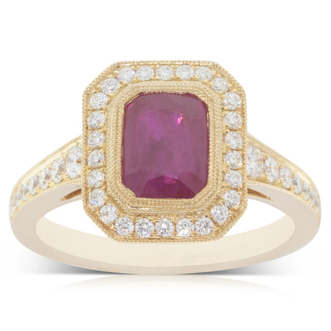18ct Yellow Gold 1.33ct Ruby & Diamond Halo Ring - Walker & Hall