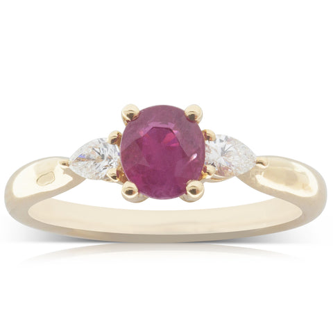 18ct Yellow Gold 1.01ct Ruby & Diamond Ring - Walker & Hall