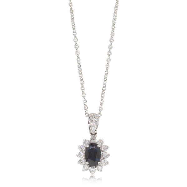 18ct White Gold .68ct Sapphire & Diamond Halo Pendant - Walker & Hall