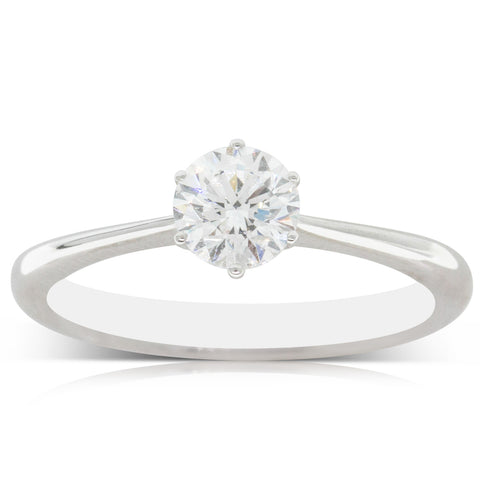 Deja Vu 18ct White Gold .52ct Diamond Solitaire Ring - Walker & Hall