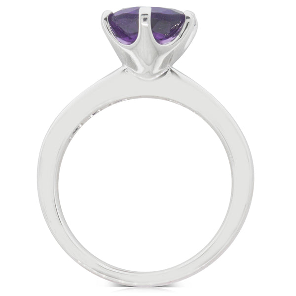18ct White Gold 2.13ct Amethyst & Diamond Ring - Walker & Hall